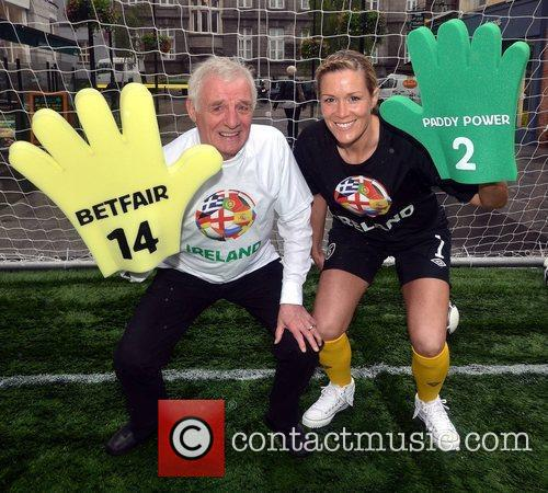Soccer pundit Eamon Dunphy and Arsenal Ladies and...
