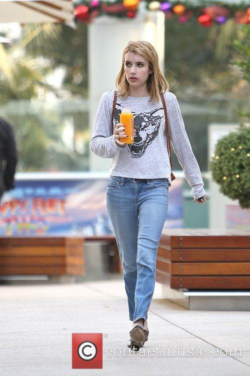 Emma Roberts seen getting a juice drink from...