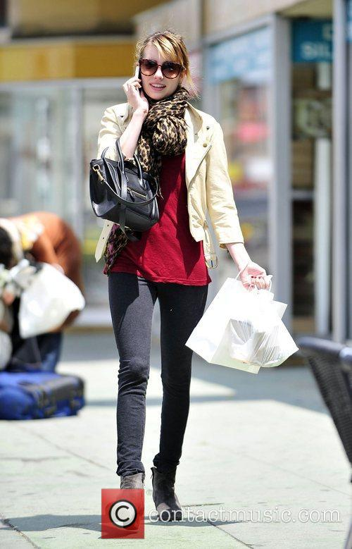 Emma Roberts shopping for antiquities near her home