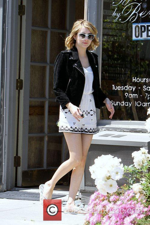 emma roberts is seen exiting a nail 5826334