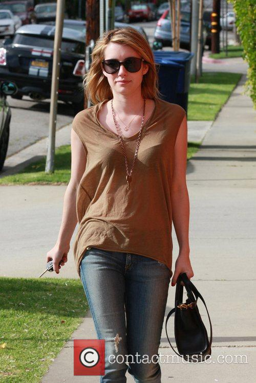 emma roberts seen wearing a sheer blouse 5832488