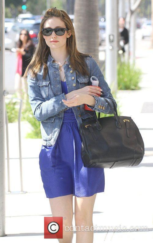 Emmy Rossum walking in Beverly Hills Los Angeles,...