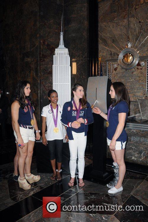 US Women's Gymnastics Team attending a Lighting Ceremony...
