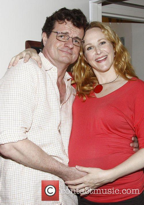 Michael Cumpsty and Katie Finneran backstage at the...
