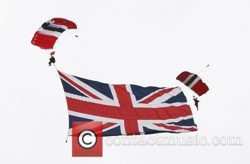 Skydivers  Epsom Derby Festival at Epsom Racecourse...