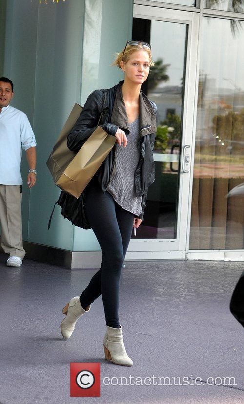 Victoria's Secret model Erin Heatherton leaving a building...