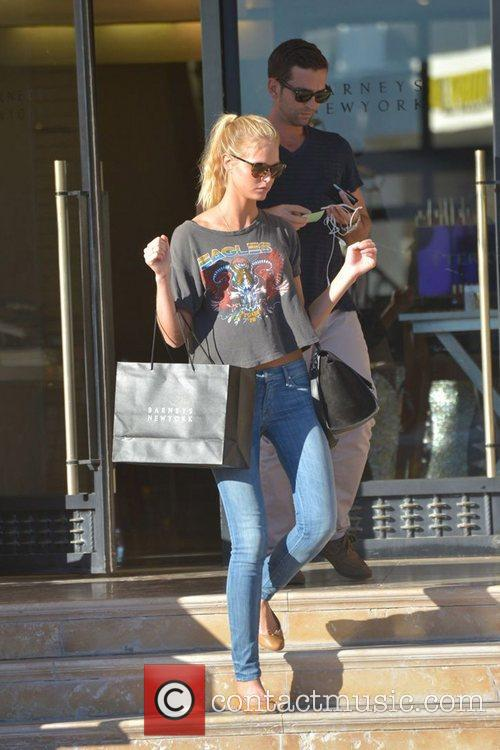 Model Erin Heatherton is seen after shopping at...