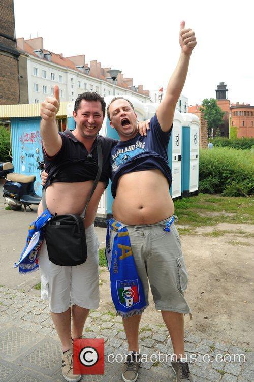 Italian football fans in the town centre ahead...