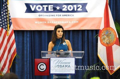Eva Longoria speaks at an Obama For America...