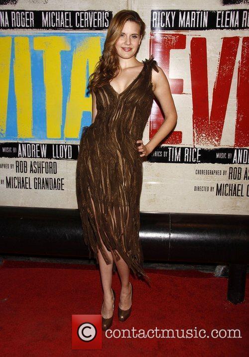 Maggie Grace wearing Donna Karan  Broadway opening...