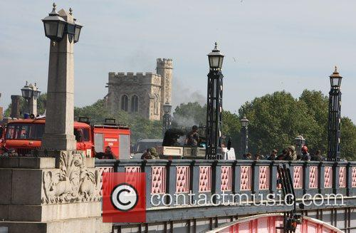 Filming on Lambeth Bridge of 'The Fast and...