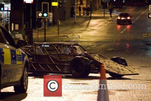 A stunt car on a test run on...