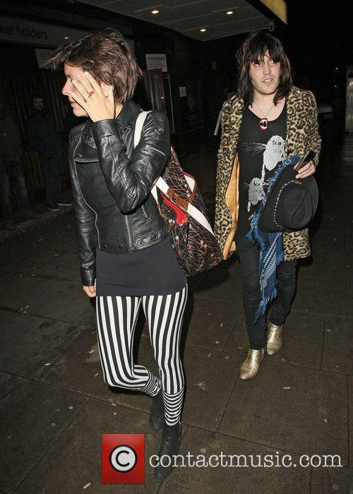 noel fielding with a female companion leaving 3843615