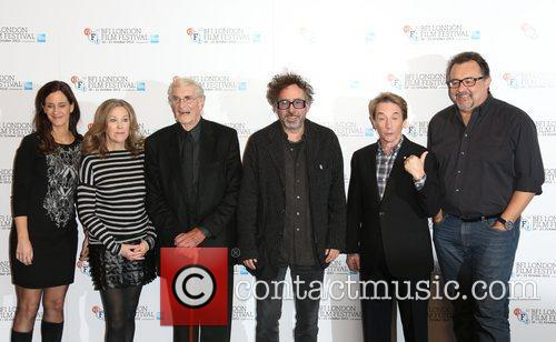 Allison Abbate, Tim Burton, Martin Landau, Catherine O'hara, Martin Short and Don Hahn