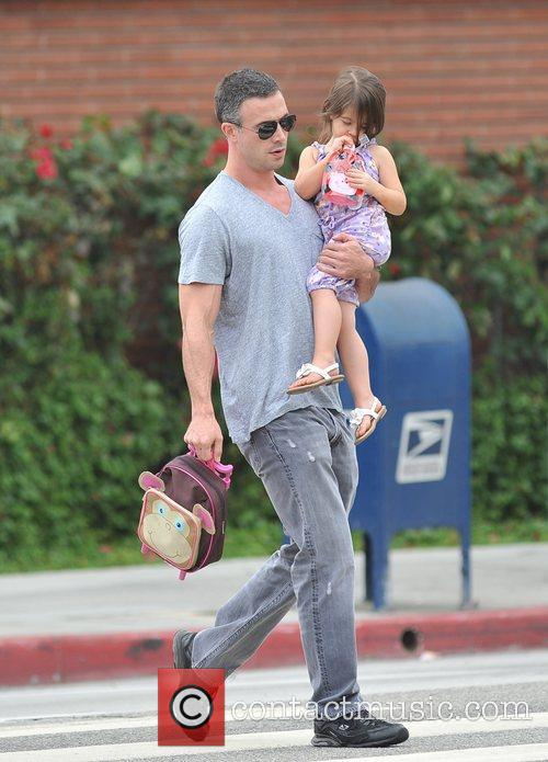 Freddie Prinze Jr walking his daughter, Charlotte Grace...