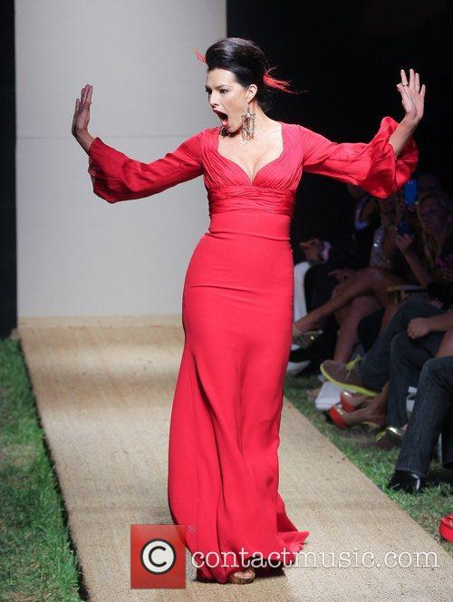 candela ferro red dress fashion show during 5933156