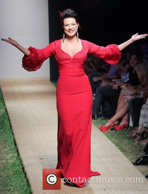 candela ferro red dress fashion show during 5933158