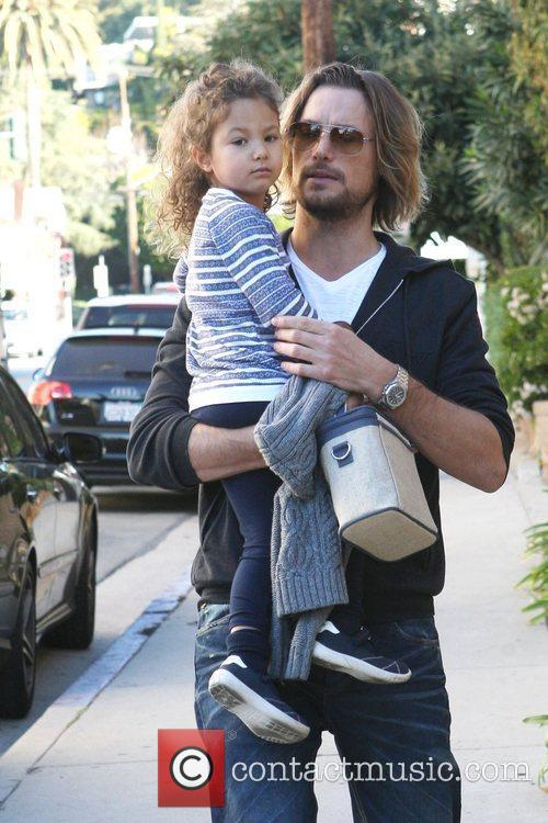 Gabriel Aubry and daughter Nahla Aubry are seen...