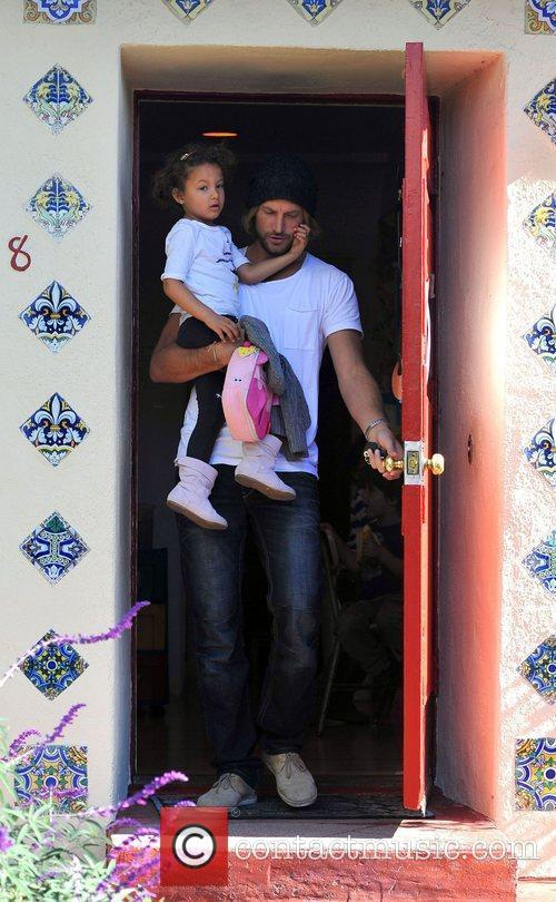 Gabriel Aubry collects his daughter Nahla Aubry from...