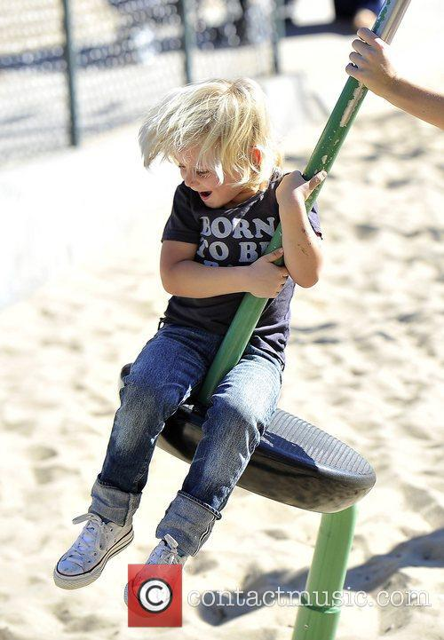 Zuma Rossdale playing at a park in Santa...