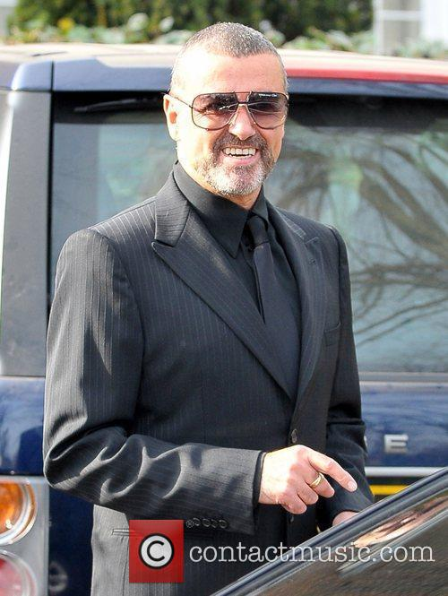 George Michael outside his house
