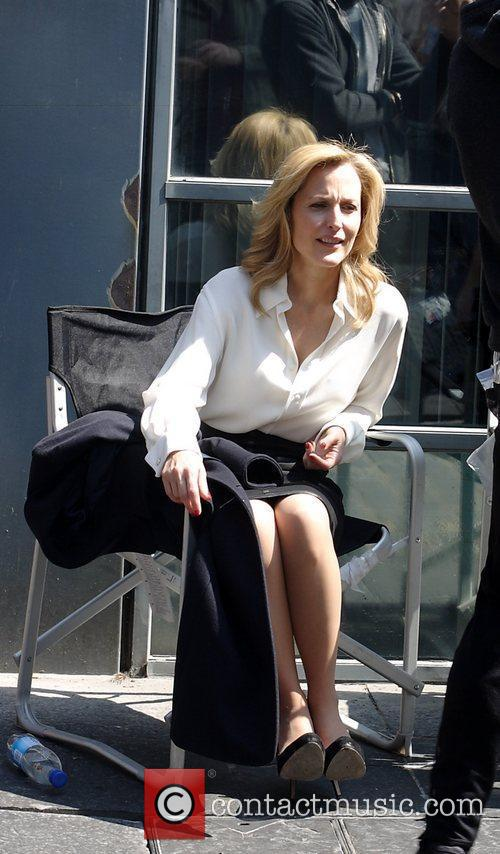 Gillian Anderson  enjoying the spring sunshine during...