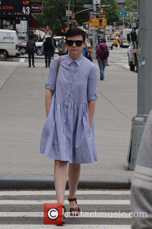 Ginnifer Goodwin  picks up some coffee from...