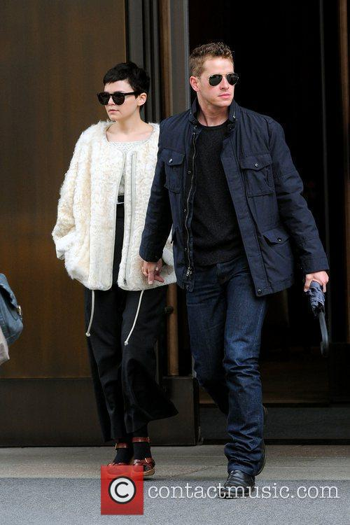 Ginnifer Goodwin leaves her Manhattan hotel with her...