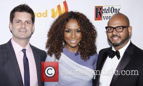 GLAAD Media Awards co-chairs Barry Garbarino, Janet Mock...