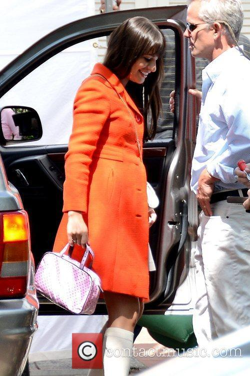 lea michele wearing an orange coat during 5839193
