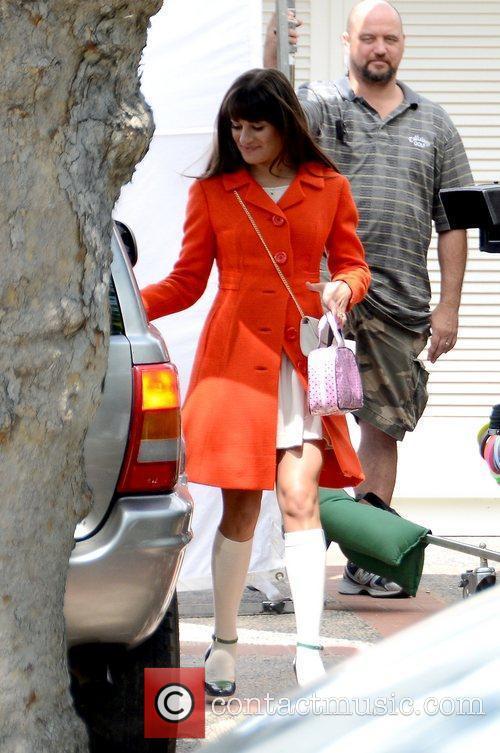 lea michele wearing an orange coat during 5839201