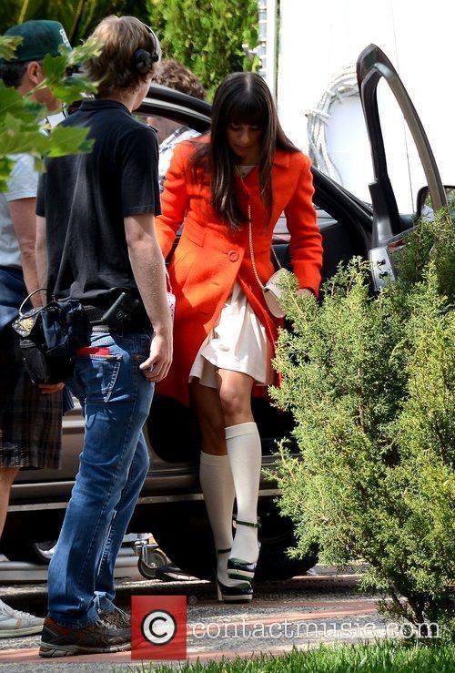 lea michele wearing an orange coat during 5839204