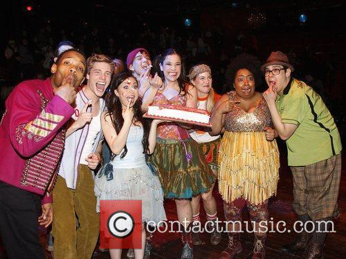 The 100th Performance of the Broadway musical 'Godspell'...