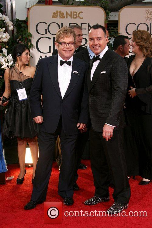 Elton John, David Furnish, Golden Globe Awards and Beverly Hilton Hotel 1