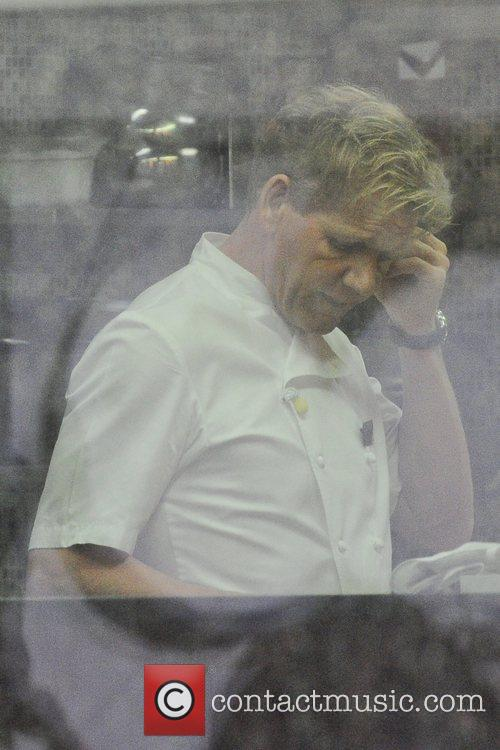 Gordon Ramsay working in the kitchen at Hotel...