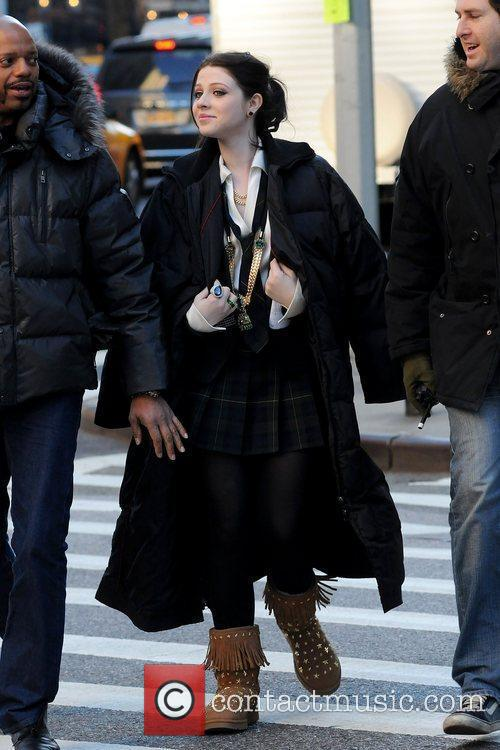 Michelle Trachtenberg on the set of 'Gossip Girl'...