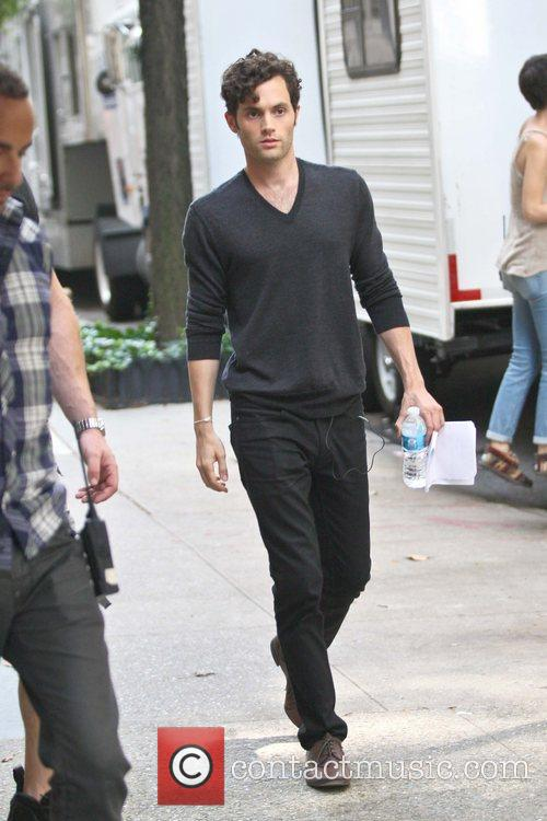 Penn Badgley  prior to filming a scene...