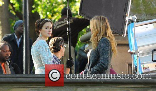 leighton meester and blake lively filming gossip 4122806