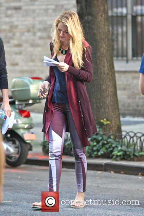 Blake Lively filming a scene for her television...