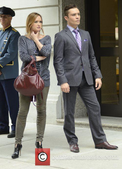 Ed Westwick and Kaylee Defer filming on the...