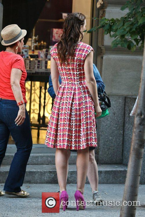 Leighton Meester filming a scene for her television...