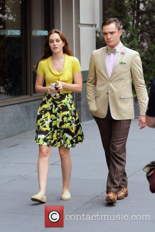 Leighton Meester and Ed Westwick filming 'Gossip Girl'...