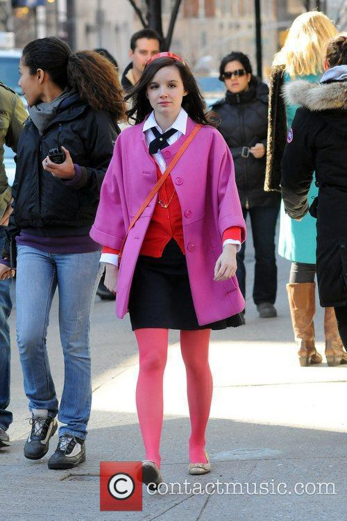 Actor on the set of 'Gossip Girl' filming...