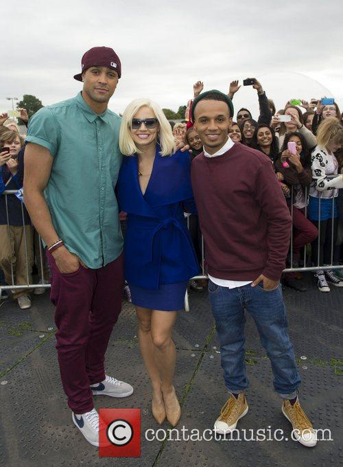Ashley Banjo, Kimberley Wyatt and Aston Merrygold arrive...