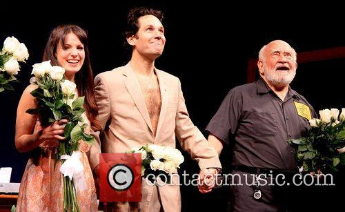 Kate Arrington, Paul Rudd, Edward Asner Broadway, Grace, Cort Theatre, Curtain Call. New York and City 2