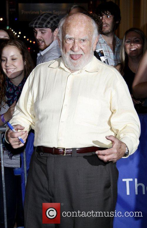 Ed Asner attending the first preview performance of...