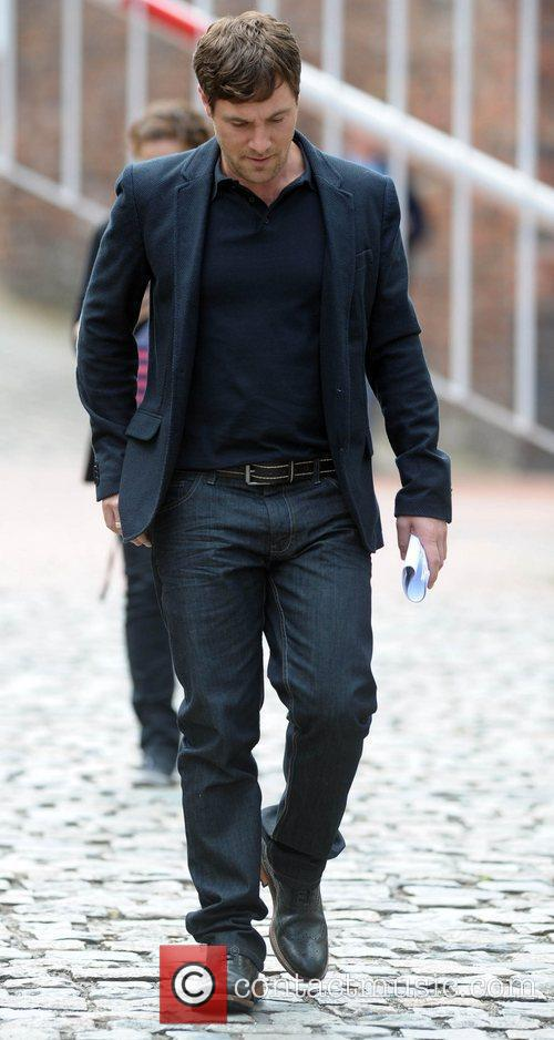 Mark Baylis leaves the Granada studios after filming...