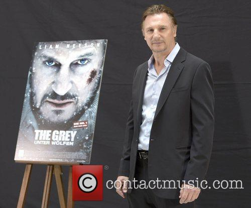 Liam Neeson presenting the movies 'Battleship' and 'The...