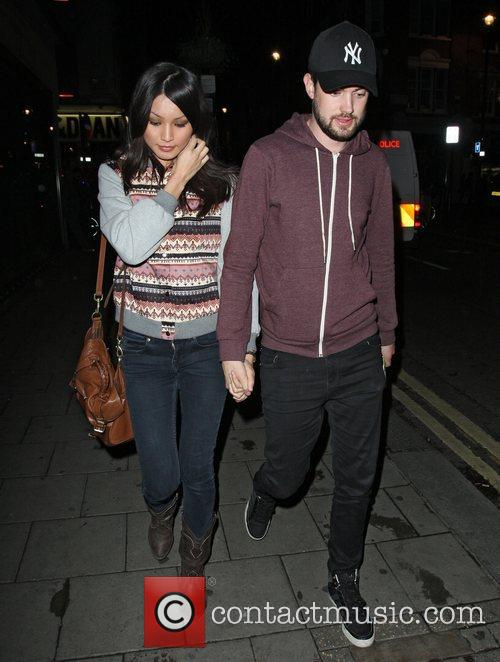 Jack Whitehall and Gemma Chan outside the Groucho...