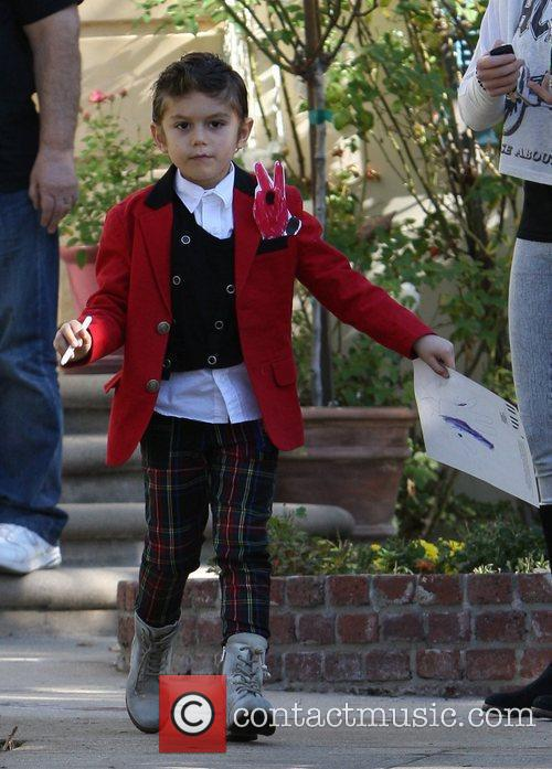 Kingston Rossdale wearing a funky outfit at his...